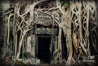Photograph - Angkor Wat Ta Prohm Door Aged by Nola Lee Kelsey