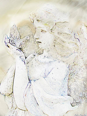 Digital Art - Angle With Dove Photoart II by Debbie Portwood