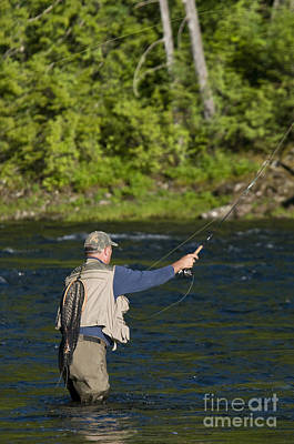 Angler Fly Fishing, Kelly Creek Art Print by William H. Mullins
