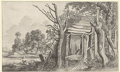 Angler In A Dilapidated Hut In A Landscape Art Print