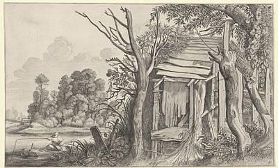 Dilapidated Drawing - Angler In A Dilapidated Hut In A Landscape by Jan Van De Velde Ii And Pieter De Molijn And Willem Pietersz. Buytewech