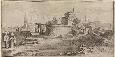 Angling Drawing - Angler In A Fortified City, Jan Van De Velde II by Jan Van De Velde (ii) And Cornelis Willemsz Blaeu-laken