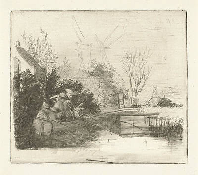 Periphery Drawing - Anglers At A River, Henry Pauw Van Wieldrecht by Henry Pauw Van Wieldrecht