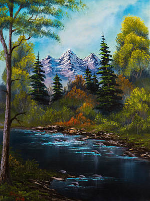 Sawtooth Mountain Art Painting - Fisherman's Retreat by C Steele