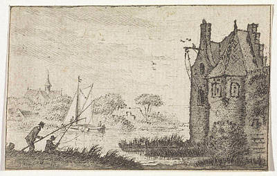Angling Drawing - Anglers In A Fortified House On A River, Hendrik Spilman by Hendrik Spilman