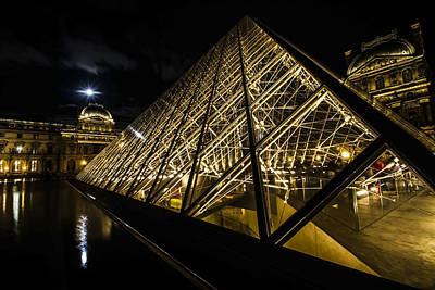 Angles And Lines Of The Louvre's Glass Pyramid With A Full Moon Art Print