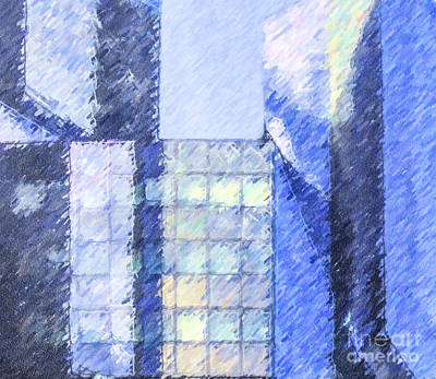 Digital Art - Angles Of Blue by Liz Leyden