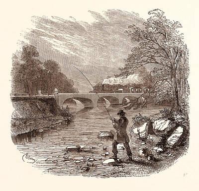 Angling Drawing - Angling, Fishing, Water, Fish, Fisherman by English School