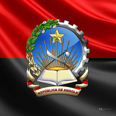 Digital Art - Angola - Coat Of Arms Over Angolan Flag by Serge Averbukh