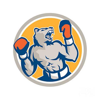 Boxer Digital Art - Angry Bear Boxer Gloves Circle Retro by Aloysius Patrimonio