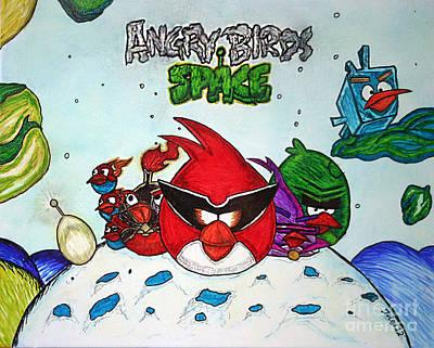 Angry Bird Space Art Print by Julie Farnsworth