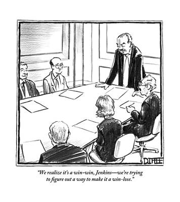 Boardroom Drawing - Angry Boss Addresses A Meeting At A Conference by Matthew Diffee