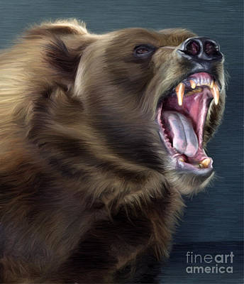 Kodiak Digital Art - Angry Brown Bear by Aleksey Tugolukov