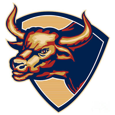 Bulls Digital Art - Angry Bull Head Crest Retro by Aloysius Patrimonio