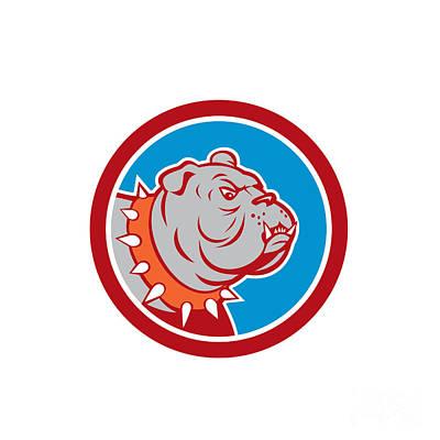 Mastiff Digital Art - Angry Bulldog Mongrel Head Cartoon by Aloysius Patrimonio