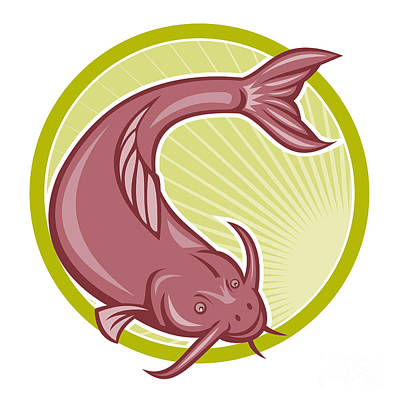 Catfish Digital Art - Angry Catfish Diving Down Cartoon by Aloysius Patrimonio