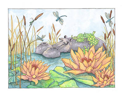 Lily Pad Pond Drawing - Angry Hippo by Priscilla  Jo