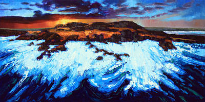Painting - Angry Ocean - Peaceful Sunset by John Lautermilch