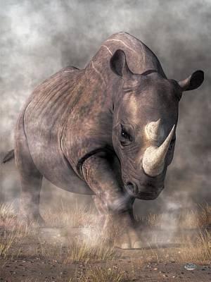 Animals Digital Art - Angry Rhino by Daniel Eskridge