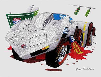 Automotive Drawing - Angry 'vette by Robert VanNieuwenhuyze