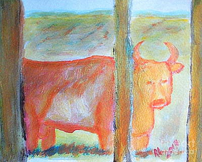 Painting - Angry Wild Bull Garland Utah 1 by Richard W Linford