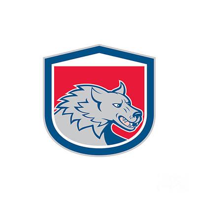 Angry Wolf Wild Dog Head Shield Cartoon Art Print