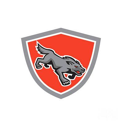 Angry Wolf Wild Dog Stalking Shield Retro Art Print