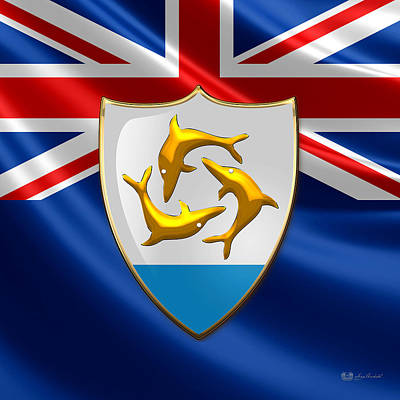 Digital Art - Anguilla - Coat Of Arms Over Flag  by Serge Averbukh