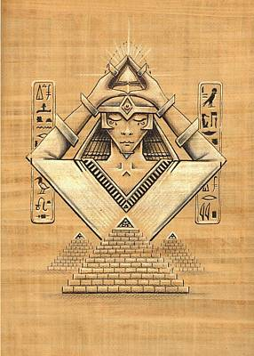 Horus Drawing - Angular Eygpt by Frank Franklin