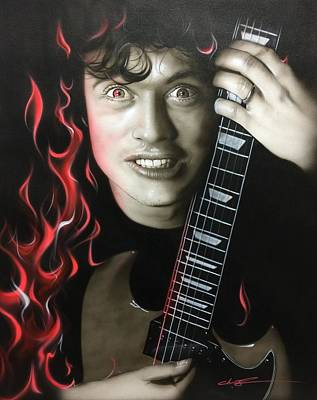 Angus Young - ' Angus On Fire ' Art Print by Christian Chapman Art