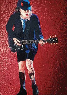 Painting - Angus Young by Taylan Apukovska