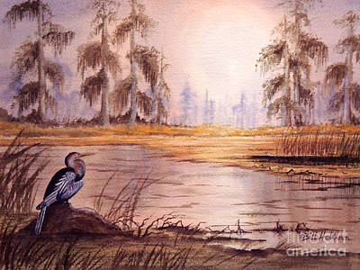 Anhinga Painting - Anhinga At Wakulla Reserve by Bill Holkham