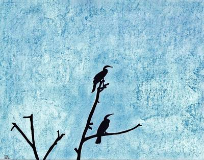 Anhinga Drawing - Anhinga - Silhouette by D Hackett