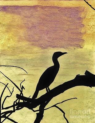 Anhinga Drawing - Anhinga - Sunset by D Hackett