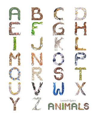 Ostrich Digital Art - Animal Alphabet by Leonard Filgate