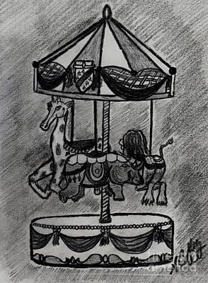Drawing - Animal Carosel by Neil Stuart Coffey