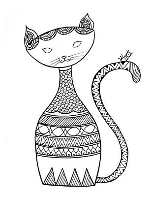 Fun Drawing - Animal Cat 3 by Neeti Goswami