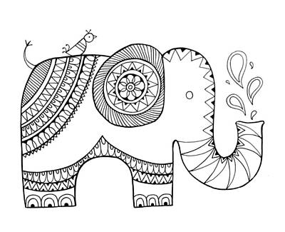 Fun Drawing - Animal Elephant 3 by Neeti Goswami