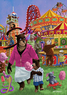 Chimpanzee Digital Art - Animal Fun Fair by Martin Davey