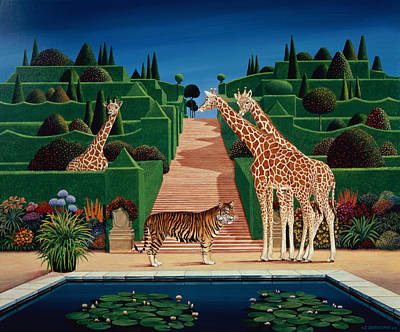 Giraffe Painting - Animal Garden by Anthony Southcombe