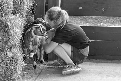 Photograph - Animal - Goat - A Girl And Her Goat by Mike Savad