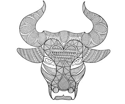 Intricate Drawing - Animal Head Bull by Neeti Goswami