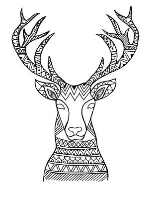 Holiday Drawing - Animal Head Deer by Neeti Goswami