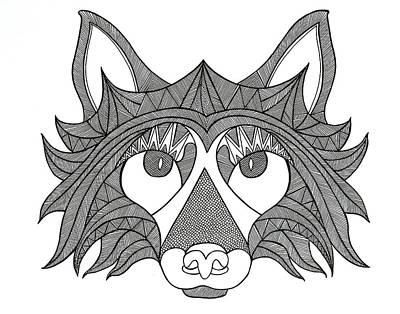 Fox Drawing - Animal Head Fox by Neeti Goswami