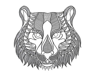Fun Drawing - Animal Head Tiger by Neeti Goswami