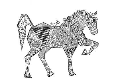 Indian Horse Drawing - Animal Horse 2 by Neeti Goswami