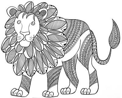 Animal Lion Art Print by Neeti Goswami