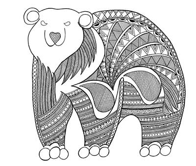 Fun Drawing - Animal Polar Bear by Neeti Goswami