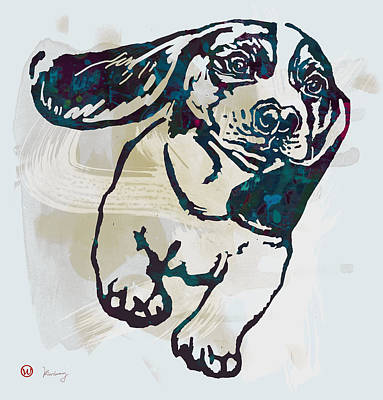Animal Pop Art Etching Poster - Dog - 10 Art Print by Kim Wang