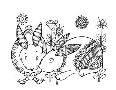 Fun Drawing - Animal Rabbits by Neeti Goswami